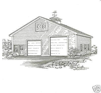 36 x 40 Two Bay FG / RV Garage Construction Blueprint Plans