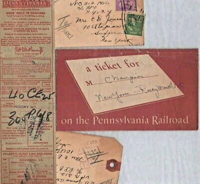 Lot of 4 Pennsylvania Rail Road Ticket Luggage Tag Ephemera Vintage 1945  (E-1)