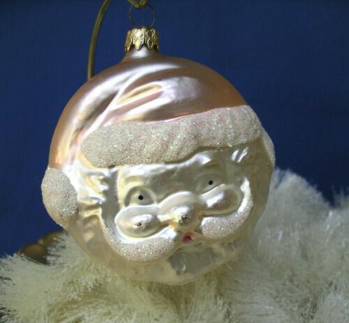 Santa Head PINK blown Glass Xmas Ornament VTG West Germany double side Rare