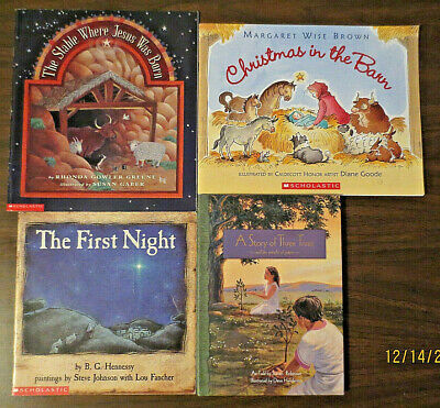 Lot 4 Christian Picture Books CHRISTMAS IN THE BARN, THE STORY OF THREE TREES ++ ()