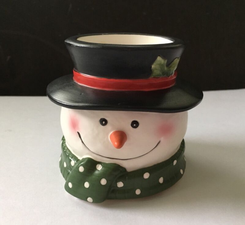 YANKEE CANDLE SNOWMAN HEAD VOTIVE CANDLE HOLDER With Votive
