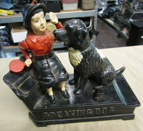 Original Antique J E Shepard Girl In Dress Speaking Dog Mechanical Bank 1885