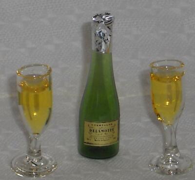Sektflasche/Piccolo + 2 Gläser, Miniatur 1:12, Puppenstube f.d. Puppenhaus #02#