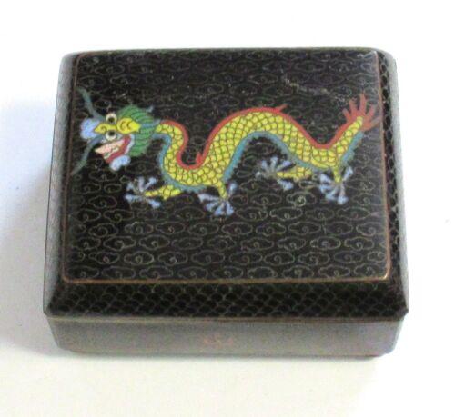 CHINESE DRAGON CLOISONNE BLACK ENAMEL TRINKET TRUNK FOOTED JAR BOX