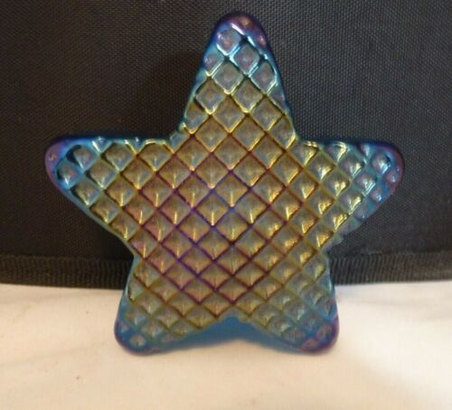 Vintage Robert Held BLUE Iridescent  5-Point Star Paperweight   SIGNED