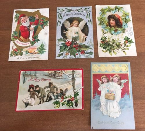 Vintage Christmas Postcard Lot of 5 Santa Tucks Angel Kids Snow Embossed Silver