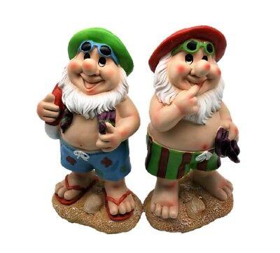 2 lustige Gartenzwerge Badehose Figur 26 cm Zwerg Gartendeko Hut Rot Grün Strand