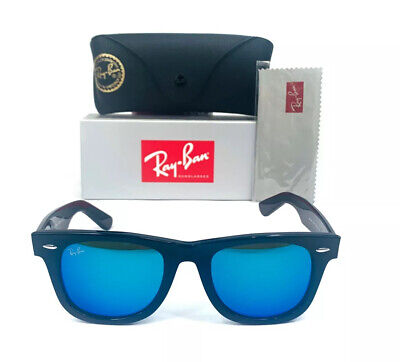 New Ray-Ban Wayfarer Sunglasses RB2140 901/17 Black Frame Blue Mirror Lens 50mm