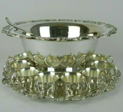 """TOWLE """"EL GRANDEE"""" Silverplated Punch Bowl, Underplate, 12 Cups, & Ladle"""