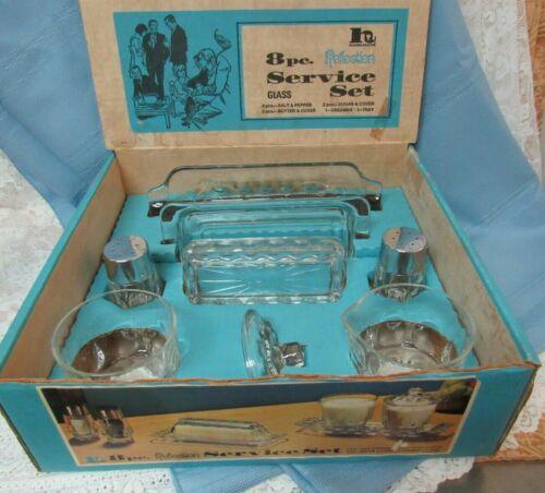 Vintage Hazelware REFLECTIONS 8 Piece Service Set Salt/Pepper, Butter Dish NOS!!