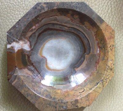 Bunt Jaspis Schale 10 x 10 cm 8 eckig 545 Gramm