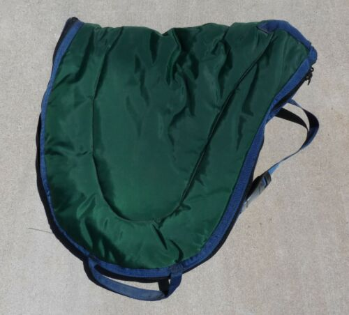 Padded English Saddle Carrier Bag Cover Handle Strap Green Blue