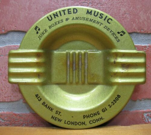 UNITED MUSIC JUKE BOXES & AMUSEMENT Old Advertising Ashtray Tray NEW LONDON CONN