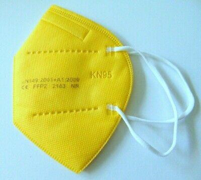 FFP2 Maske 10 x Neon Gelb Mundschutz 5 Lagig CE 2163 zertifiziert Erwachsene Neu