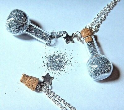 EMERGENCY GLITTER RESERVE pixie dust fairy sparkle glam bottle jar necklace M1 - Pixie Dust Necklace