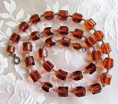 Vintage Root Beer Glass Necklace Beautiful Fall Color (Beer Glass Costume)