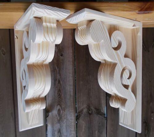 PAIR of Victorian Design Wood Corbels / Shelf Mantle Support Brackets (#6111D)