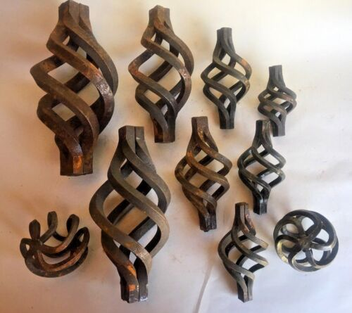 LOT OF 10 vintage Wrought Iron SWIRL Finials Architectural parts steampunk