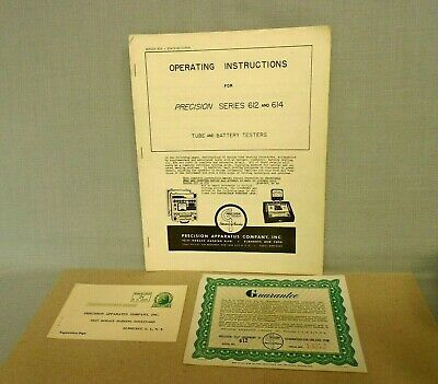 Precision Tube Tester 612 And 614 Operating Manual