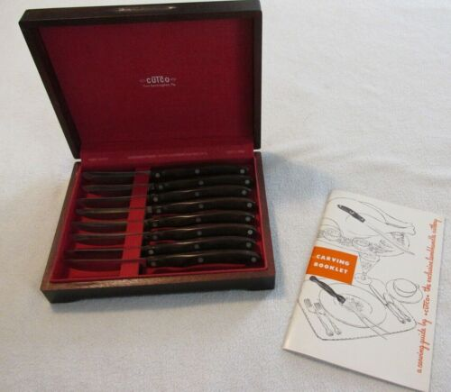 Vintage Cutco 8 pc Table / Steak Knives set with Original Wood Box/Carving Book