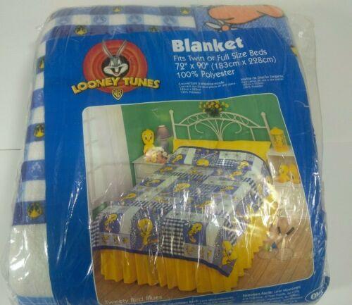 "VTG Looney Tunes Tweety Bird Flowers Blanket 72"" x 90"" Twin or Full Size- New"