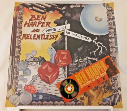 Ben Harper White Lies For Dark Times RARE PROMO Poster + Sticker* Pearl Jam Surf