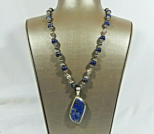 """VTG CHUNKY LAPIS & STERLING SILVER HAND KNOTTED 25"""" ONE OF A KIND NECKLACE"""