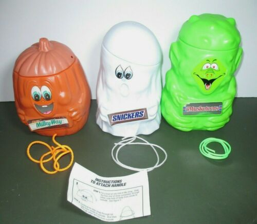 1990 Mars Blow Mold Plastic Halloween Candy Bucket Lot Pumpkin Ghost Goblin