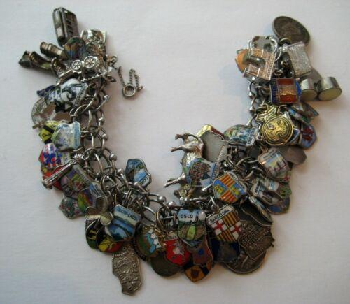 VTG Loaded World Traveler PACKED w/ 75 CHARMS Bracelet Sterling~800~9 KT Travel