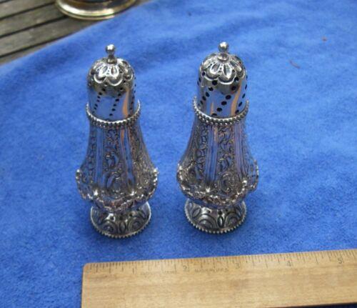 Fine Pair DUTCH 833 Silver Repousse SALT & PEPPER SHAKERS-No Mono-Dated 1907-NR