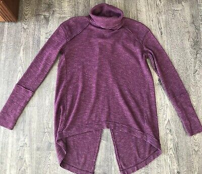 We the Free People XS Knit Top Turtleneck Split Back Burgundy Ribbed Long Sleeve