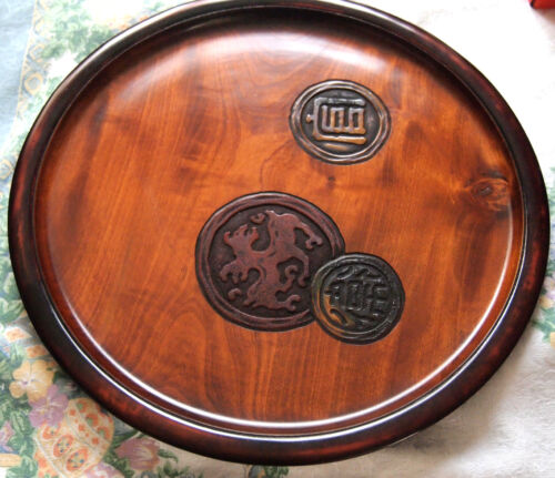 Japanese Lacquered Wooden Tea Ceremony Tray 16 inches D - Signed and Decorated