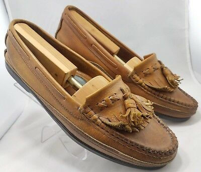 Vintage Mens Johnston Murphy Brown Leather Moccasin Tassel Loafers Shoes 11.5