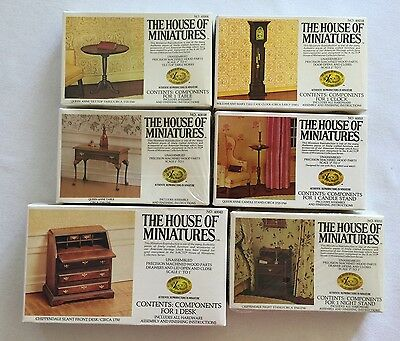 Used, 6 Dollhouse Furniture Kits House of Miniatures Table Desk Clock for sale  Portsmouth