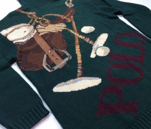 Vintage Polo Ralph Lauren Men Golf Bear Spellout POLO Turtleneck Sweater Small