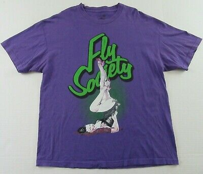 1940s Men's Shirts, Sweaters, Vests FLY SOCIETY 1940's Era Pinup Girl Model Purple SS T Shirt Size XL $23.99 AT vintagedancer.com