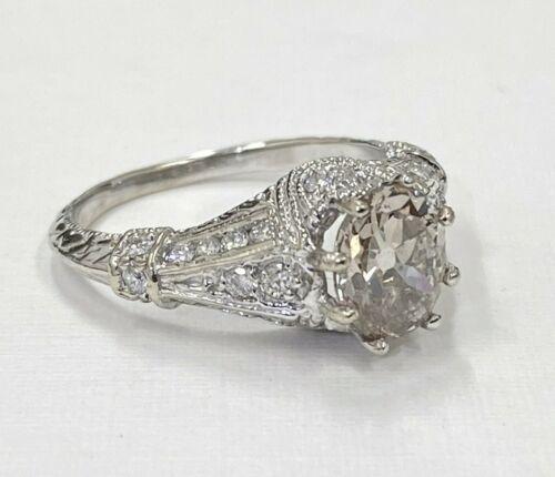 2.15 ct Vintage Antique Old European Cut Oval Diamond Engagement Ring 18k gold