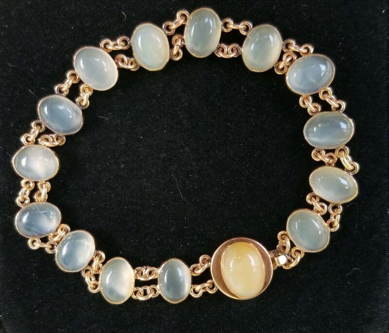 Antique Art Nouveau Moonstone 14k Gold Bracelet-Gemstones Estate Jewelry 10.8gm
