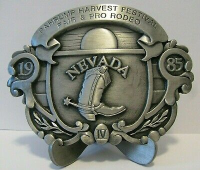 1985 Pahrump 21st Harvest Festival Fair Pro Rodeo Nevada Belt Buckle Limited Ed for sale  Shipping to Canada