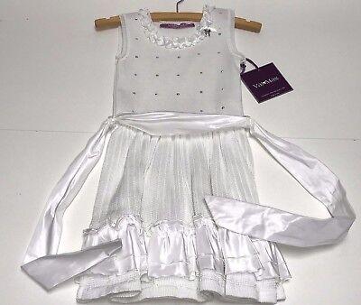 Val & Max New Girls Kids SWEATER KNIT DRESS w/ TAFETTA Sz: 6 RTL: $249 5030 P700