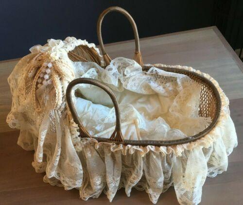 Vintage Wicker Nursery Bassinet / Rattan Play Crib / Baby Doll/ Photo Prop