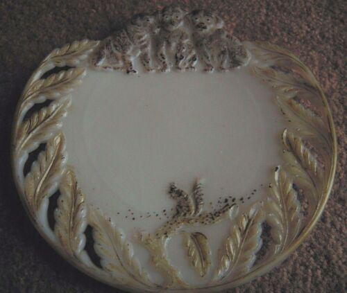 RARE Three Puppy Dogs and Squirrel Antique Milk Glass Plate