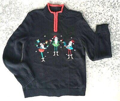 Women's Christmas Sweater Skinny Santas Ugly sz L Christopher Banks zip mockneck](Ugly Christmas Sweater Women)