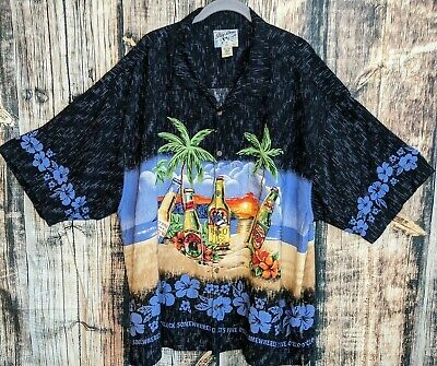 Big Dogs Mens 4X Beer 5 O'Clock Somewhere Hawaiian Tropical All Over Print Shirt