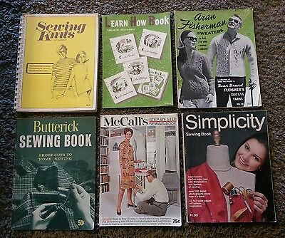 Lot Vintage 6 Sewing Books Magazines 40's 70's Butterick Simplicity McCalls