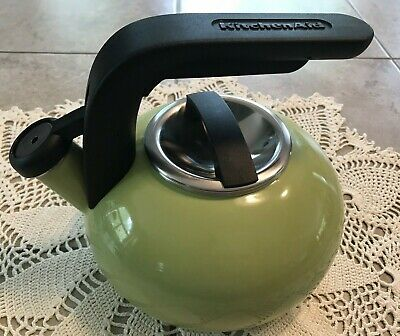 KitchenAid~1.8 Qt Green Apple~Enamel~Whistling Teapot~Tea Kettle