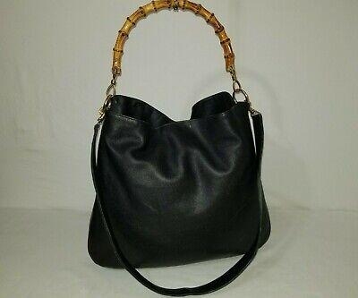 GUCCI Bamboo 2 Way Black Italian Leather Handbag / Shoulder Bag With Strap