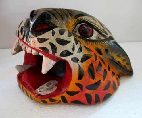 """Wood Carving Wall Mask Mexican Folk Art Jaguar Cat Head Guerrero 9"""""""