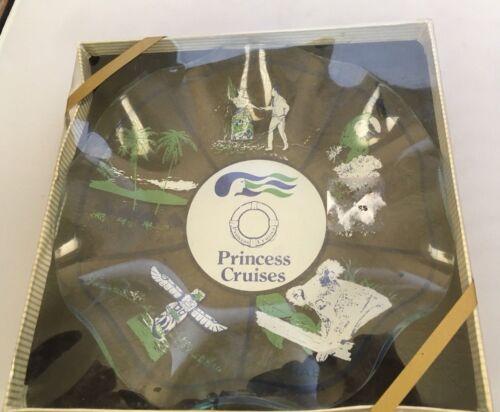 Vintage Princess Cruise Line Fluted Dish Ruffled in Box Glass Hawaii Alaska