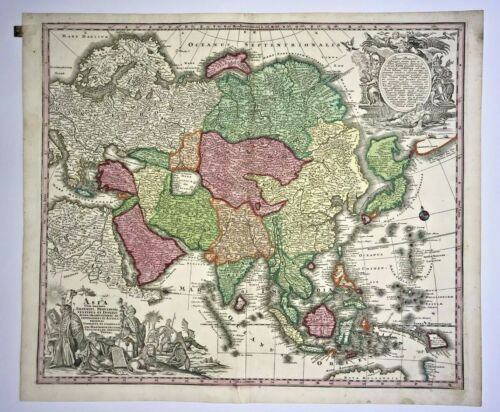 ASIA by MATHEUS SEUTTER 1730 UNUSUAL LARGE ANTIQUE ENGRAVED MAP 18TH CENTURY